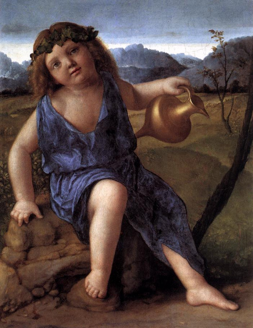 Dionysus, Greek God of wine and art by Giovanni Bellini