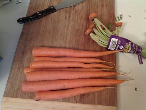 Cut the stems off of the carrots