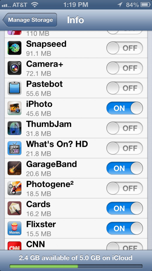 Tap backup on or off for each individual app.