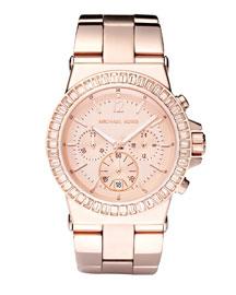 Michael Kors Baguette-Bezel Watch, Rose Gold