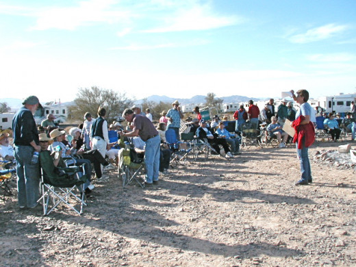 Social Hour at Boomer Camp in Quartzsite