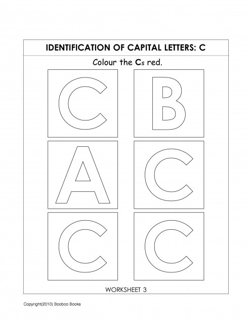 Alphabet worksheet for kindergarten - letter C