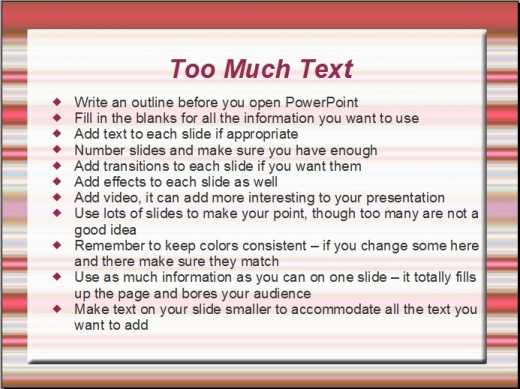 Too much text on one slide