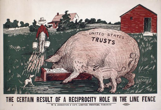 Political cartoon from 1911.  The cartoon suggests an imbalance in reciprocity between Canada and the United States.
