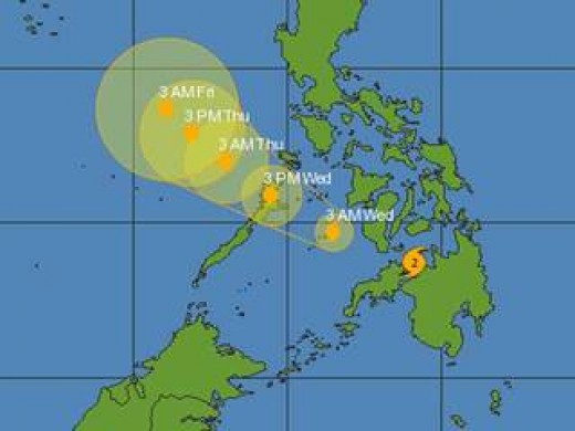 This map shows the path of the typhoon through the Philippines.