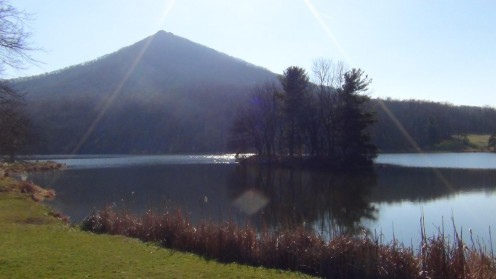 View of Sharp Top Mountain from Abbot Lake.