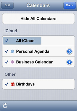"""iPhone Calendars to choose from - """"All iCloud"""""""
