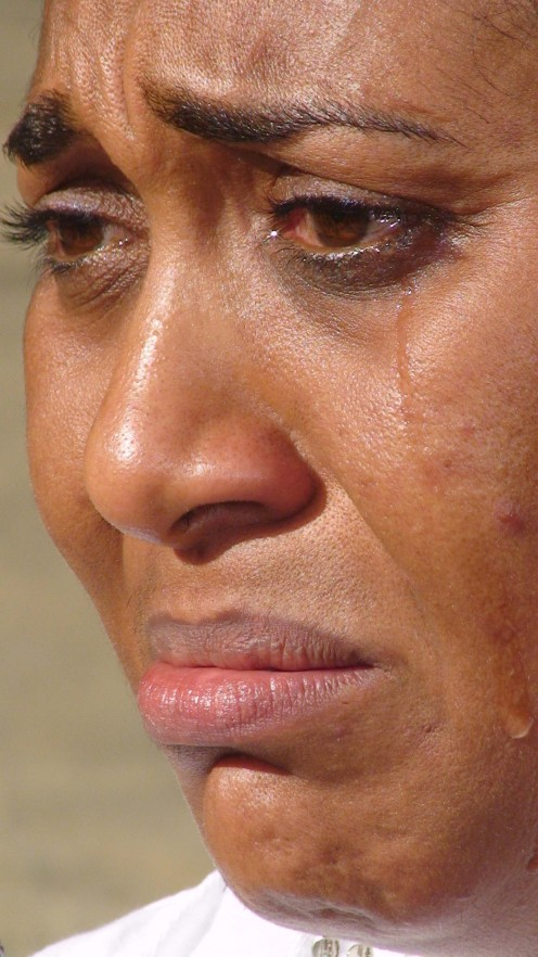 Nigeria Celebrity/Film actress Hilda Dokubo crying while speaking on how hunger affects poor people at the HungerFREE Campaign of ActionAid, July 14, 2007.