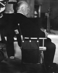 """Alfred Hitchcock on location in 1975, directing """"Family Plot."""""""