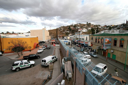 On the left is Nogales AZ and on the right is Nogales, Sonora, Mexico.