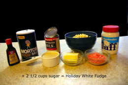 Salt, sugar, evaporated milk, butter, marshmallow fluff, vanilla extract, and white chocolate chips are required to make Holiday Fudge.