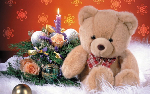 christmas teddy bear wallpaper