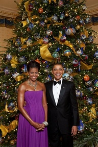 President and First Lady Obama - 2009 White House Christmas Tree