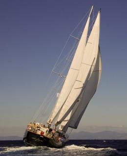 Modern sailboat.