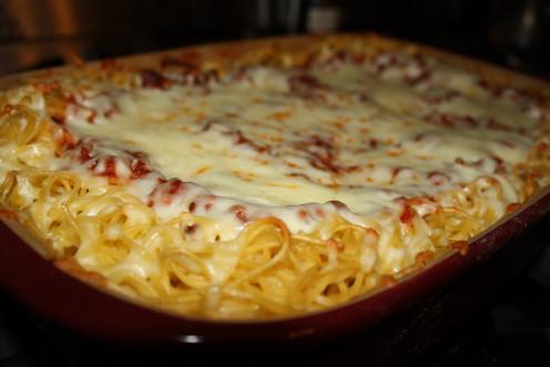 Spaghetti Pie - a doubled version of original recipe!