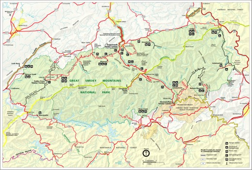 A map of the Great Smoky Mountain National Park showing the course of the Appalachian Trail through the Park.