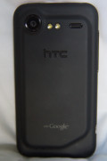 The back of the HTC Droid Incredible 2, showing the camera lens and its 2 LEDs for the flash.  The two LEDs make for a good flashlight with the included flashlight application.