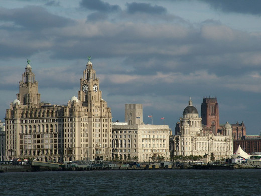 Liverpool Pier Head, showing the Three Graces, Historical Buildings that survived the Blitz!