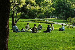 Meditation can be practiced alone or in a group.