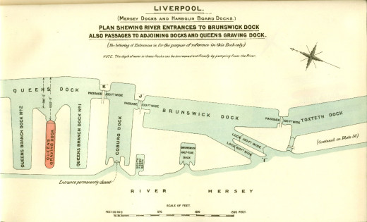 Liverpool Map showing the intricate details of the Liverpool Dock System at the beginning of the 1900s.