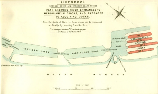 Historicsl Msp showing details of the Liverpool Dock system at the beginning of the 1900s.