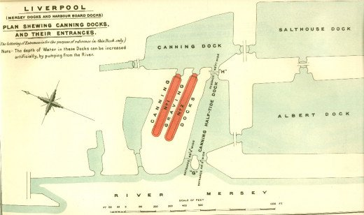 A Historical Map showing a part of the Liverpool Dock System at the beginning of the 1900s