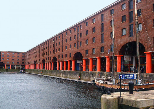 A view of the huge warehouses that surround the Albert Docks, Liverpool