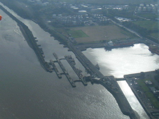 An aerial view that shows how the waterways merge one into the other. Liverpool Waterways.