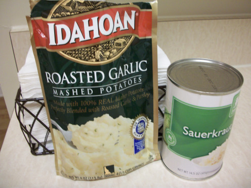 Mashed potatoes and sauerkraut is a very delicious combination for you vegetarians out there.