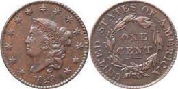 The large cent was replaced by the Flying Eagle cent in 1857. The large cent above is known as the Coronet Head large cent.