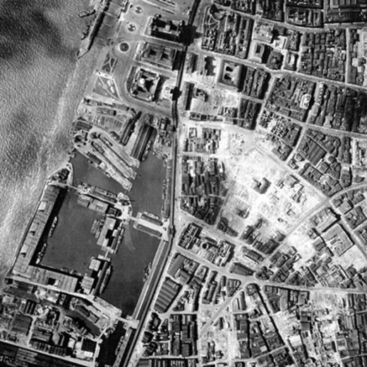 An aerial view photographed by the RAF, UK, showing the destruction at Liverpool Docks during the Blitz