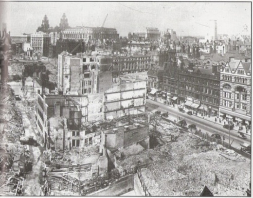A view of the great destruction of the urban sector at Liverpool during the Blitz