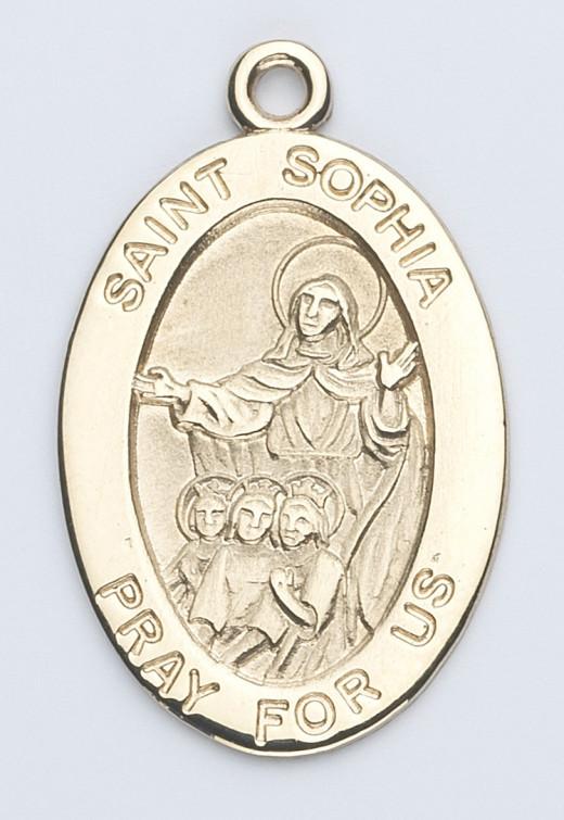St. Sophia medal; 14K Oval St Sophia Patron Saint Medal Necklace Catholic