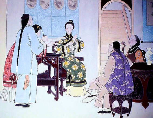 The Chinese Matchmaker. A young prospective bride serving tea to the matchmaker while her parents wait anxiously to the right. The man is presumably a relative, rather than prospective groom