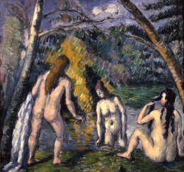 """Paul Cezanne """"Three Bathers"""" 1892-82, oil on canvas, Musee des Beaux-Arts de la Ville, Paris"""