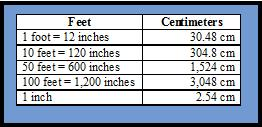 Basic conversion rate for feet to centimeters.