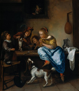 """Jan Steen, """"The Dancing Lesson"""" 1660-79 oil on canvas"""