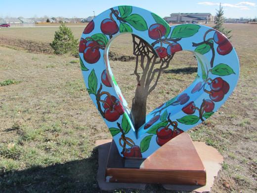 fiberglass heart near the Immanuel Lutheran Church in Loveland.