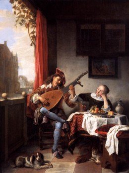 """Hendrick Martenszoon Sorgh, """"The Lute Player"""" 1661 oil on canvas"""