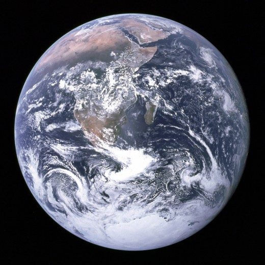 View of the Earth, taken in 1972 by the Apollo 17 astronaut crew. This image is the only photograph of its kind to date, showing a fully sunlit hemisphere of the Earth.