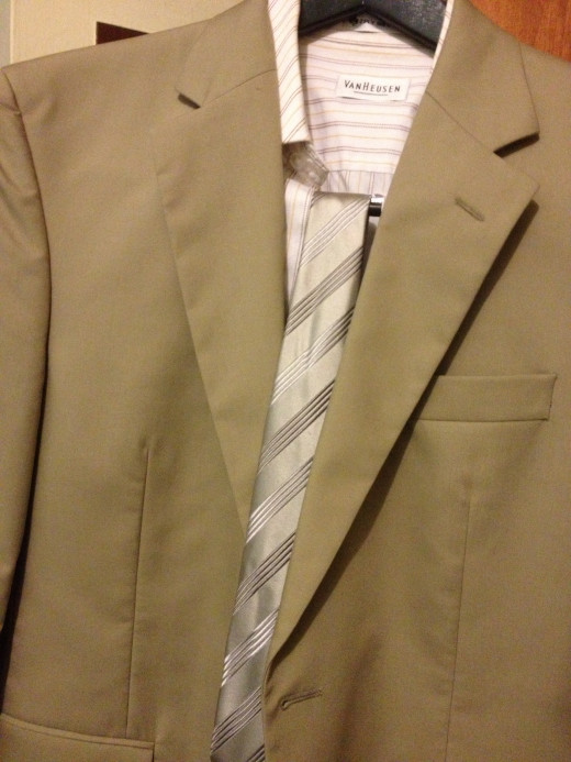 Tan Suit with Van Heusen Shirt and Charvet Tie