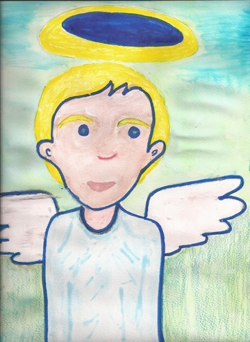 A striking blue angel hovered in a house for centuries, since his wings couldn't mature. An artist came along and stylishly thought of a witty way to cheer him. The glorious angel confidently inspired, flew into the sky for the first time.