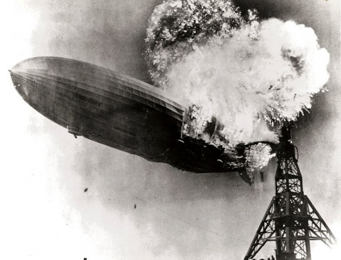 The Zeppelin LZ 129 Hindenburg catching fire on May 6, 1937 at Lakehurst Naval Air Station in New Jersey.
