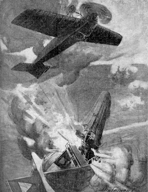 World War One: An artist's impression of the destruction of German Zeppelin LZ37 by Sub-Lieutenant Reginald Warneford on 7 June 1915.
