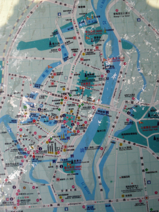 This is a map of the City of Guilin. These maps are displayed in stands at verious locations along the main streets. If you become lost or disoriented the Guilin maps can help you figure out where you are.