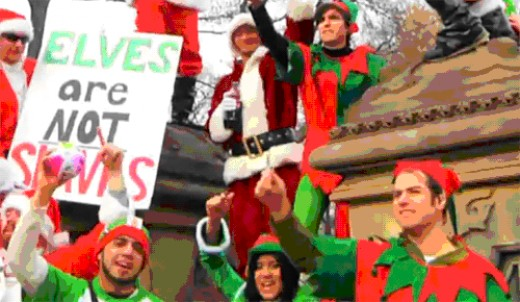 Elves protesting against Austerity cuts