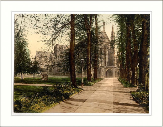 Cathedral and avenue, Winchester, England
