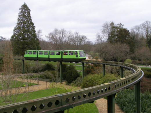 The monorail, Beaulieu A monorail train approaches the southern station (for Palace House and the abbey) in the grounds of the Beaulieu Estate. The monorail has run here since the 1970s, and is classed as a true transit monorail as it has two station