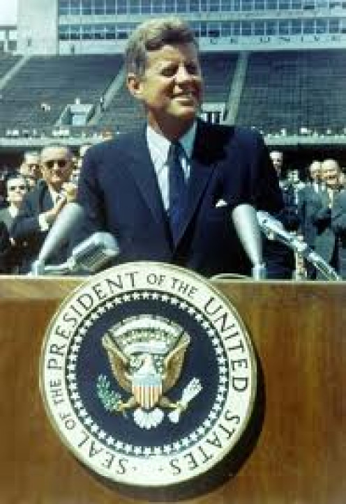 """""""Now is the time...for this nation to take a clearly leading role in space achievement, which in many ways may hold the key to our future on Earth."""" - John F. Kennedy"""