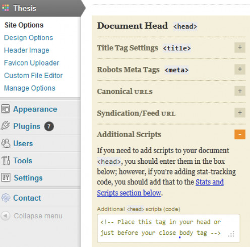 Favicon HTML can be added to the Thesis theme for Wordpress through the admin dashboard.